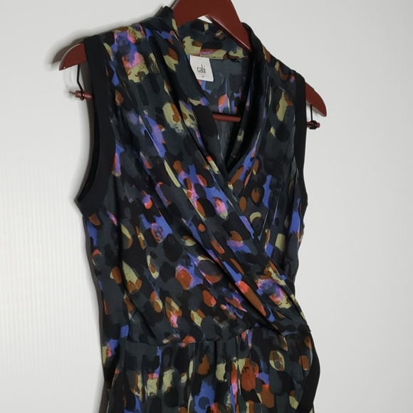 CAbi Tops - CAbi Flaunt Watercolor faux wrap top size small